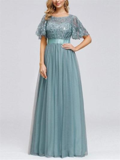 Pretty A-Line Short Sleeve Embroidery Belt Design Maxi Dresses for Wedding