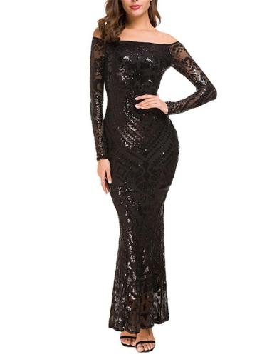 Gorgeous Off The Shoulder Long Sleeve Sequined Mermaid Dress for Evening