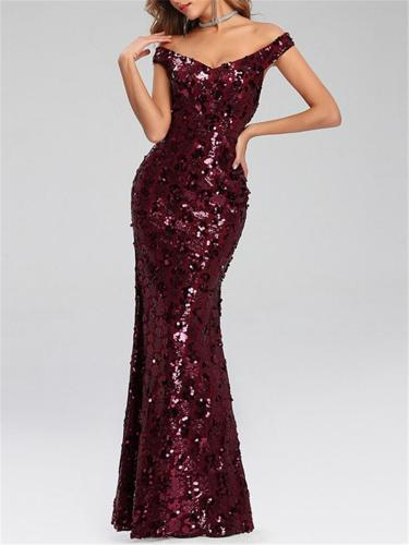 Pretty Off Shoulder Mermaid Sequined Maxi Dress Gown with Lining