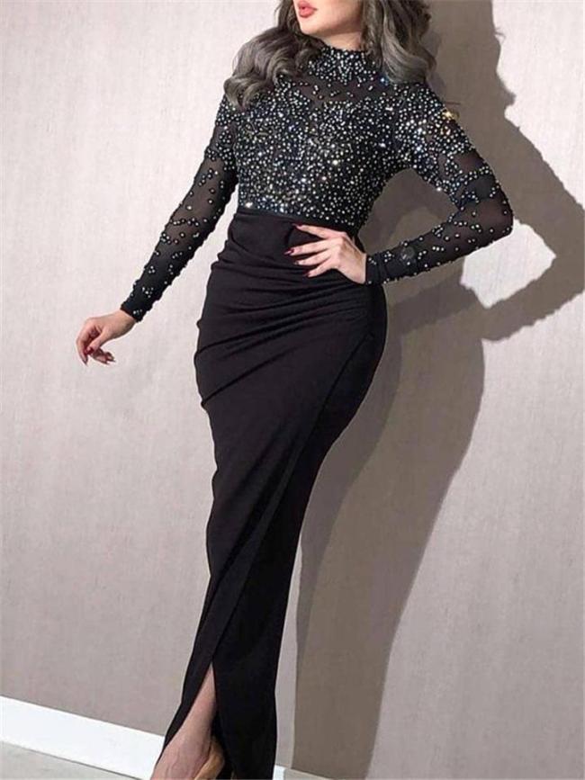 Shimmering Beaded Pleated Long Sleeve Mermaid Dress for Prom