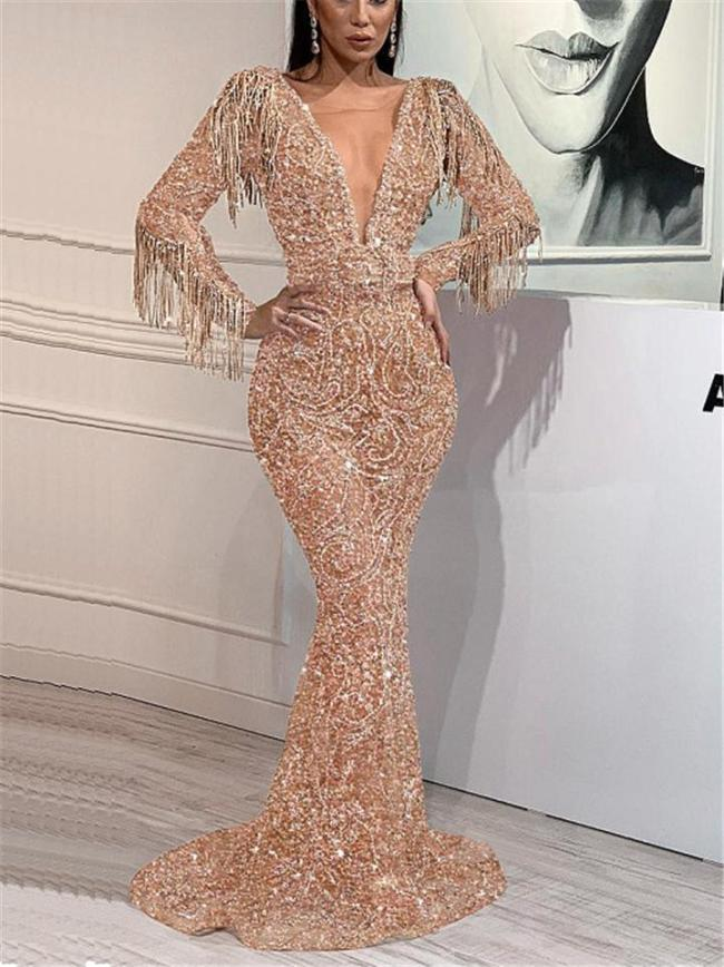 Stunning Low V Neck Fringed Beaded Sweep Train Dress for Prom