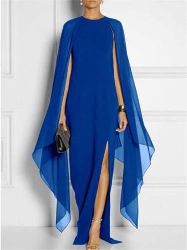 Flowing Round Neck Cap Sleeve Side Silt Chiffon Dress for Prom