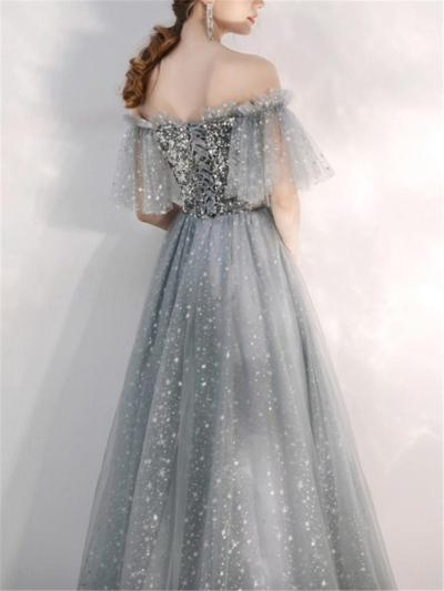 Glamorous Sequined Off Shoulder A Line Tulle Dress for Prom