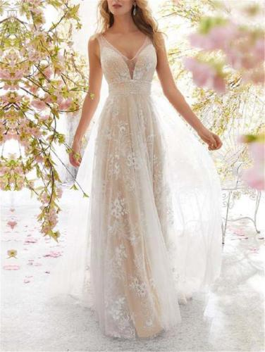 Dreamy Fairytale Floral Applique Sleeveless Organza Dress for Wedding