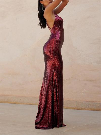 Shimmery Sequined Spaghetti Strap Backless Dress for Formal Party