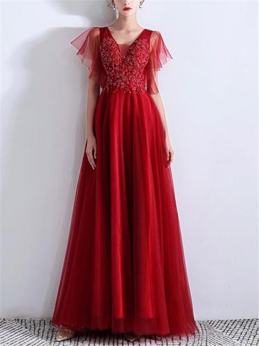 Stunning Applique V Neck Backless Mesh Gown for Prom