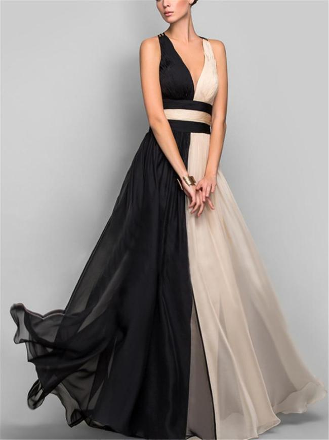 Flowing Deep V Neck Backless Fitted Waist Maxi Dress for Evening