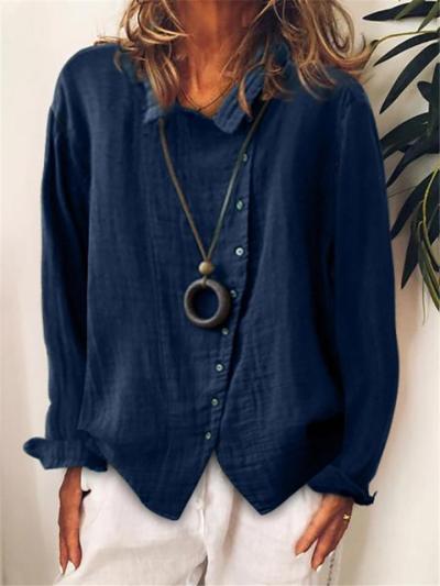 Oversized Style Classic Collar Asymmetric Button Fastening Cotton Linen Blouse
