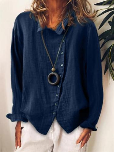 Oversized Style Classic Collar Asymmetric Button Fastening Cotton Linen Blouse