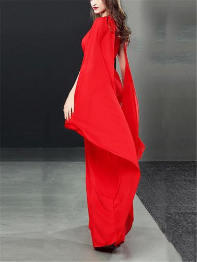 Flattering Halter Neck Fitted Waist Cap Sleeve Maxi Dress for Evening Party
