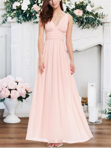 Elegant Sleeveless V-Neck Chiffon Maxi Dress for Prom