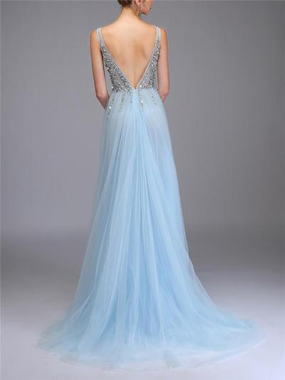 Stunning Sequined Beaded Backless Tulle Maxi Dress for Prom