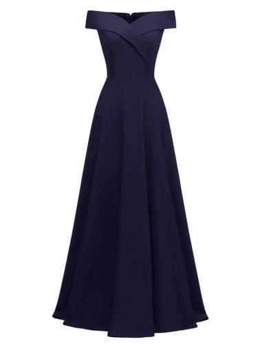 Vintage Decent Solid Color Off Shoulder Maxi Dress For Formal Party