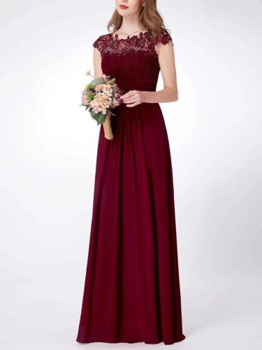 Elegant Cap Sleeve Lace Neckline Ruched Bust Evening Dress