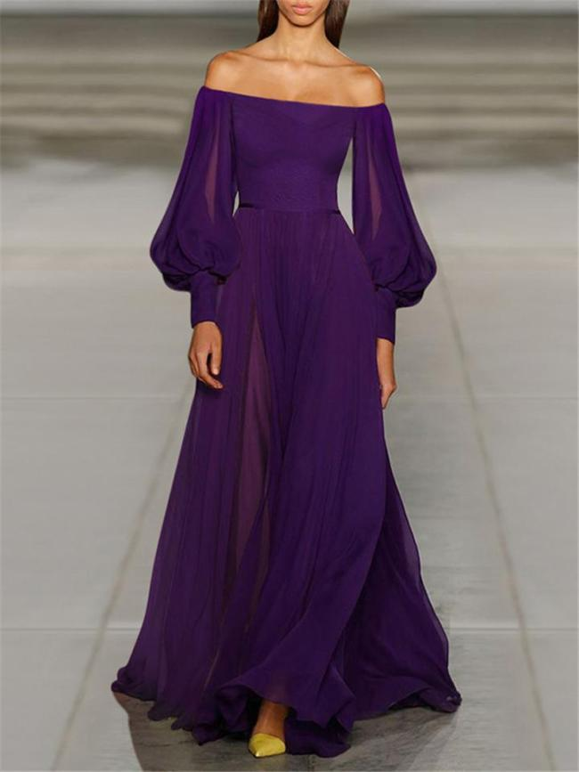 Flowing Off Shoulder Lantern Sleeve Chiffon Maxi Dress for Prom