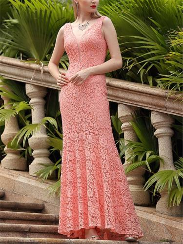 Sexy Pretty Fitted Mermaid Lace Evening Gown Dress for Party