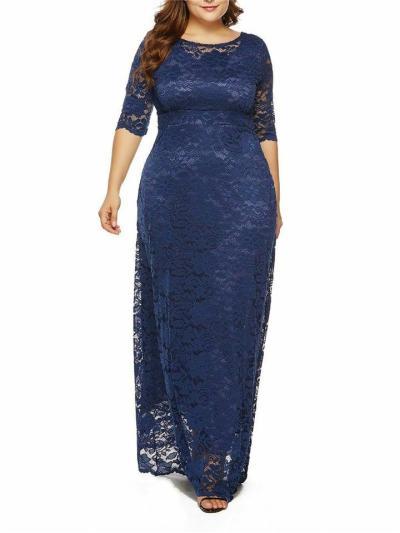 Women's Elegant Plus Size Floral Lace Maxi Pocket Dress for Evening Party