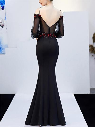 Stunning Applique Backless Tulle Sleeve Mermaid Dress for Evening Party