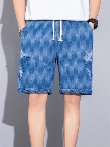 Casual Sports Print Patchwork Drawstring Elastic Waist Denim Knee Pants