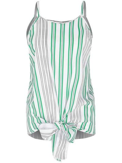 Racer Back Design Spaghetti Strap Contrasting Striped Knotted Hem Tops