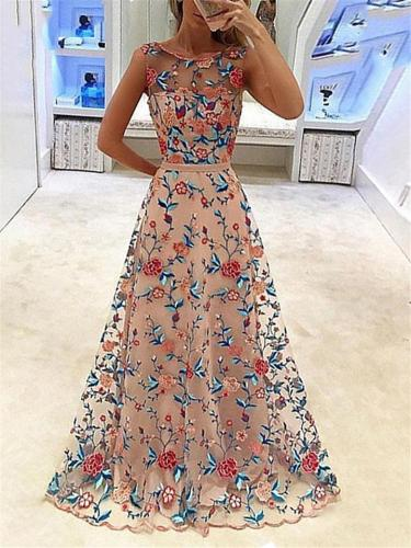 Pretty Illusion Neck Fitted Waist Floral Embroidery Dress for Prom