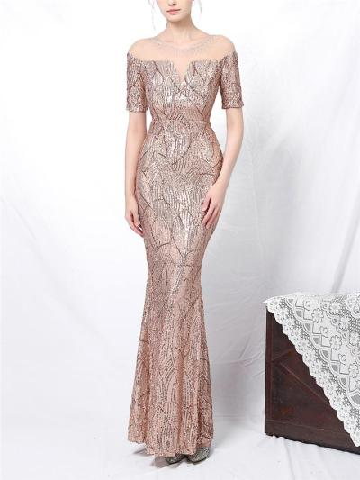 Shimmering Sequined Illusion Neck Mermaid Dress for Evening Party
