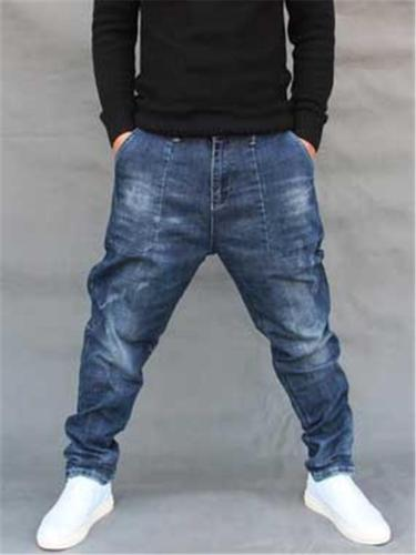 Mens Hip Hop Baggy Street Ankle Jeans