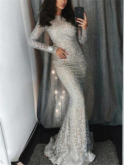 Shimmering Sequined Round Neck Long Sleeve Dress for Prom