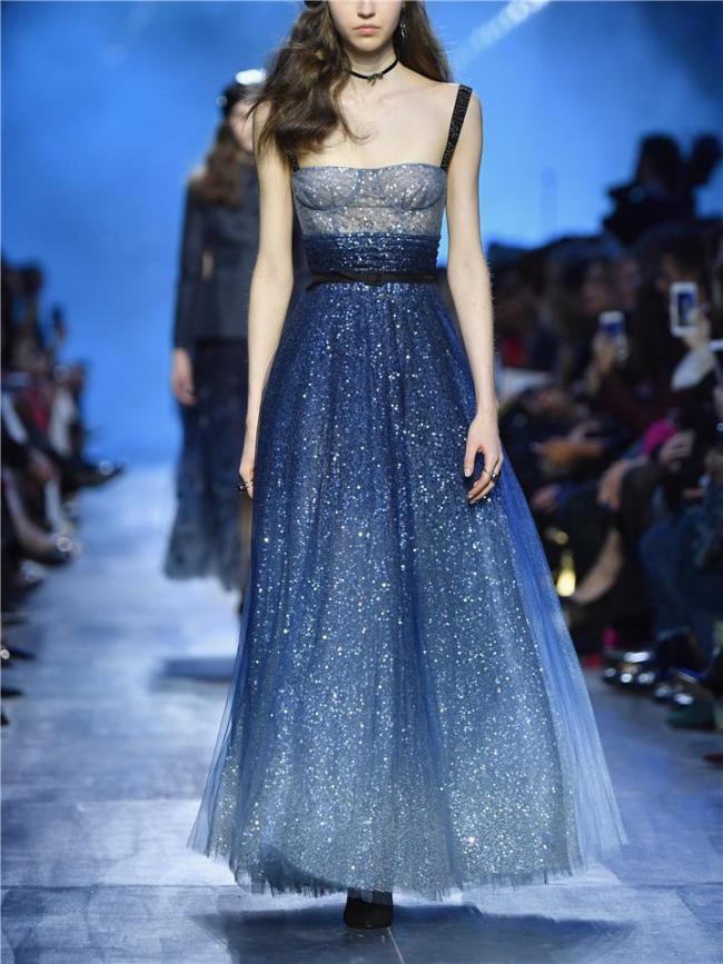 Dreamy Fairytale Empire Waist Spaghetti Strap Dress for Evening