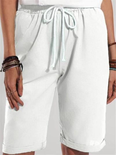 Elastic Waist Drawstring Lightweight Straight Silhouette Folded-Hem Shorts