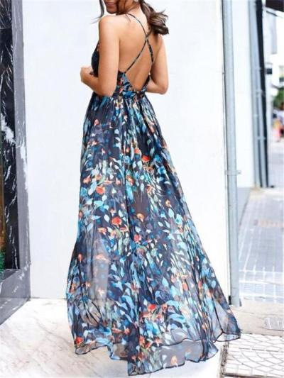 Flowing Floral Printed Fitted Waist Backless A Line Dress for Prom