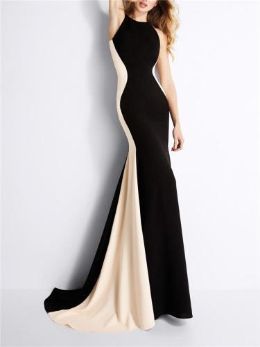 Elegant Halter Neck Sleeveless Sweep Train Trumpet Dress for Evening