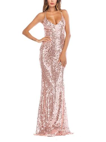 Shiny Sequined Spaghetti Strap Backless Maxi Dress for Party