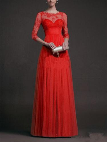 Exquisite Applique Illusion Neck Pleated Lace Maxi Dress for Prom