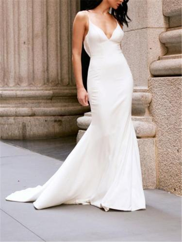 Pretty V Neck Backless Sweep Train Dress for Wedding