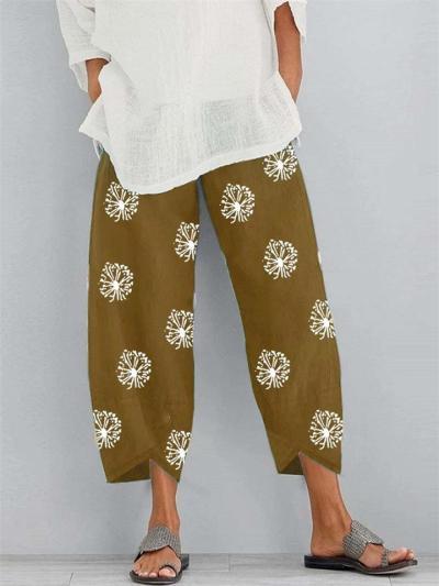 Casual Relaxed Fit Elastic Waist Dandelion Print Asymmetric Hem Cropped Pants