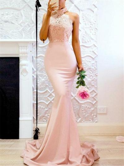 Gorgeous Halter Neck Sweep Train Mermaid Dress for Formal Party