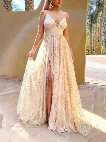 Stunning Low V Neck Spaghetti Strap Thigh High Slit Dress for Prom
