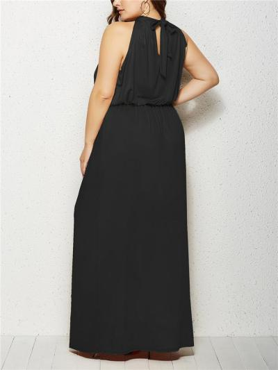 Flowing Halter Neck Empire Waist Back Tie Dress for Evening Party