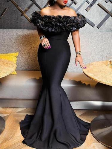 Gorgeous Off Shoulder Ruffle Design Maxi Mermaid Dress for Evening
