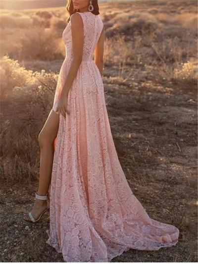 Pretty Deep V Neck Sleeveless Side Slit Lace Dress for Prom