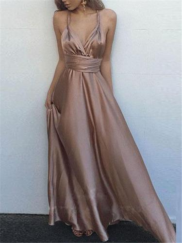 Sexy Pretty Wrap Neck Fitted Waist Backless Strappy Dress for Prom