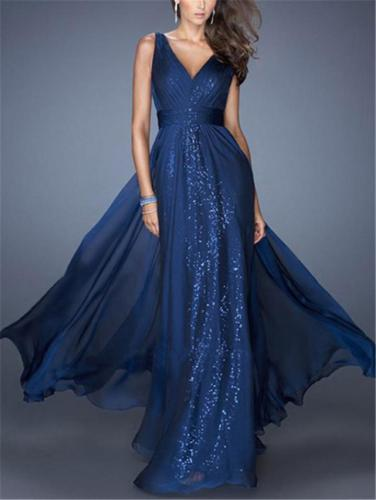 Shiny Wrap Neck Backless Chiffon Maxi Gown for Evening