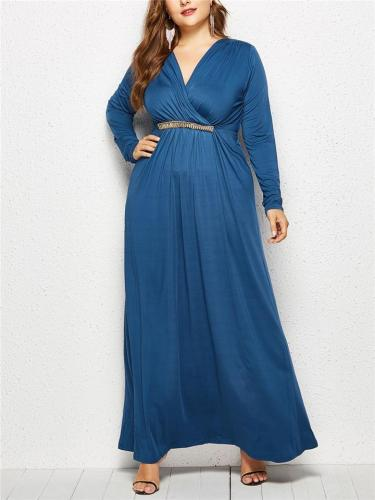 Pretty Wrap Neck Ruched Detail Fitted Waist Maxi Dress for Evening Party