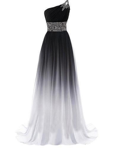 Women's Gorgeous One Shoulder Gradient Long Evening Dress Gown for Evening