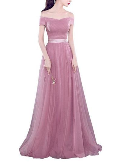 Pretty Off Shoulder Fitted Waist Tulle Dress for Formal Party