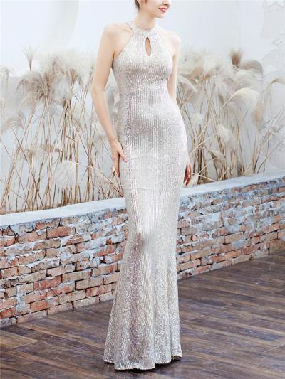 Shiny Sequined Halter Neck Maxi Mermaid Dress for Evening