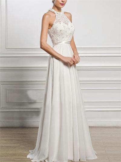 Pretty Applique Halter Neck Fitted Waist Dress for Wedding