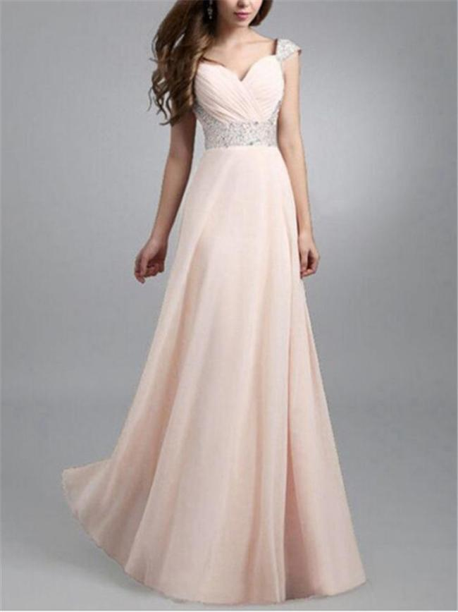 Pretty Fitted Waist Sequined A Line Maxi Dress for Prom