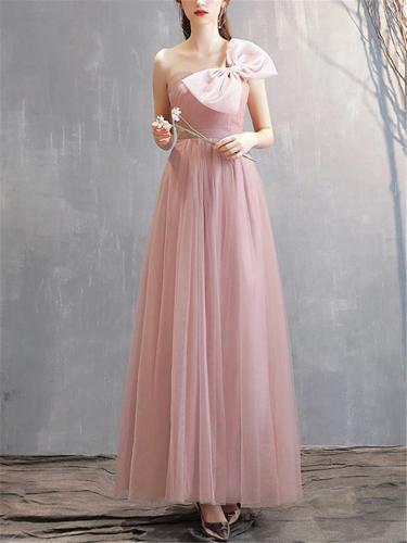 Pretty Off Shoulder Front Bow Mesh Gown for Evening Party